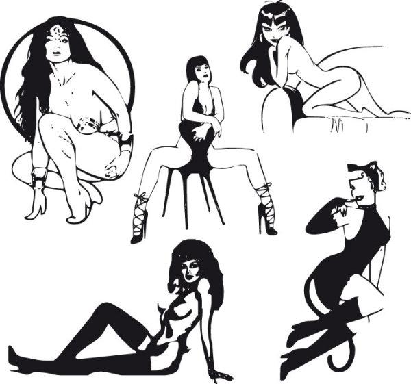 性感美女黑白剪影矢量图2-矢量人物与卡通-矢量素材