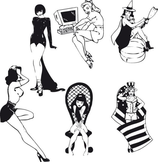 性感美女黑白剪影矢量图4-矢量人物与卡通-矢量素材