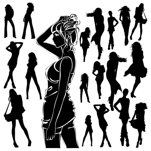 黑白,美女,剪影,苗条,女士,背包,裙子,长发,背影,矢量图,设计素材,eps