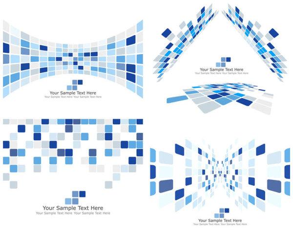科技动感方块花纹背景矢量图3
