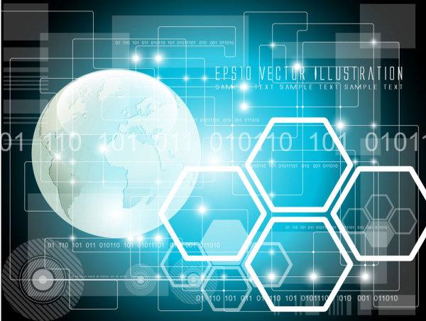 蓝色科技未来幻想背景矢量图2