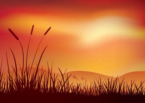 黄昏,草丛,剪影,风景,风光,矢量图,设计素材,eps格式