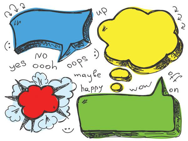 可爱手绘对话泡泡矢量图-6
