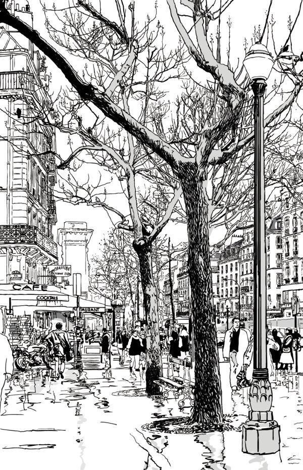 线稿,建筑,素描稿,街道,树木,城市,路灯,人群,楼房,线稿,矢量图,设计图片