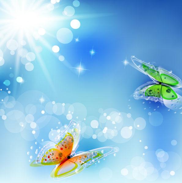 阳光下的蝴蝶矢量图-矢量植物与风景-矢量素材-素彩网