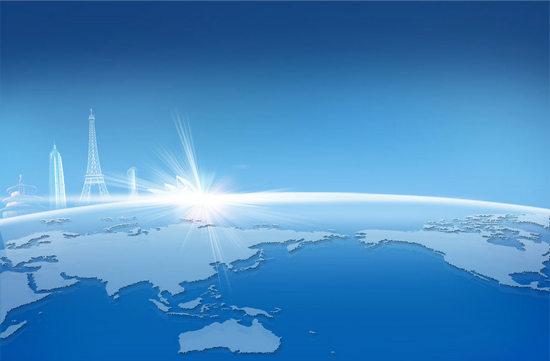 蓝色地球世界名建筑背景psd素材