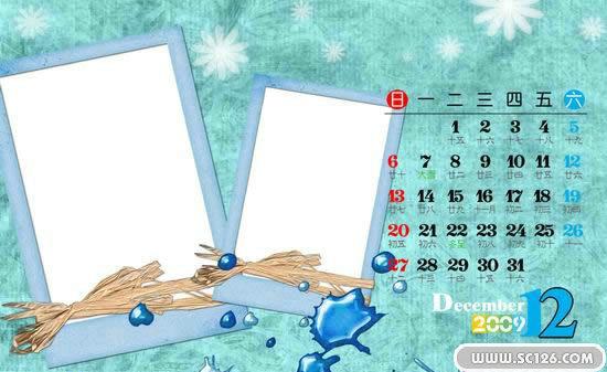 台历模板图片素材[十二月],四季密语2009年台历psd素材免费下载,免费