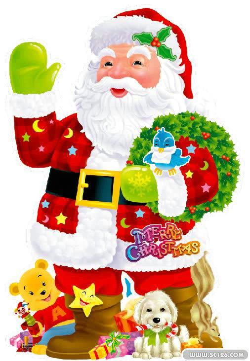 小熊 花环 礼物 圣诞树 驯鹿 圣诞老人图片素材,圣诞老人鹿拉车psd