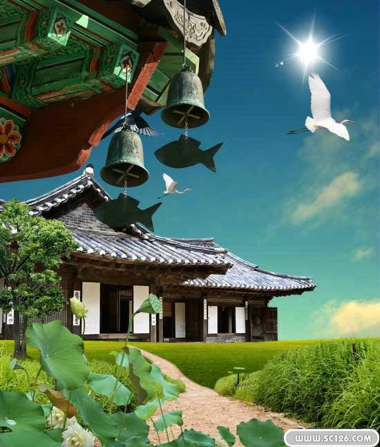 韩国庙宇建筑风光psd模板-风景风光psd素材-psd素材