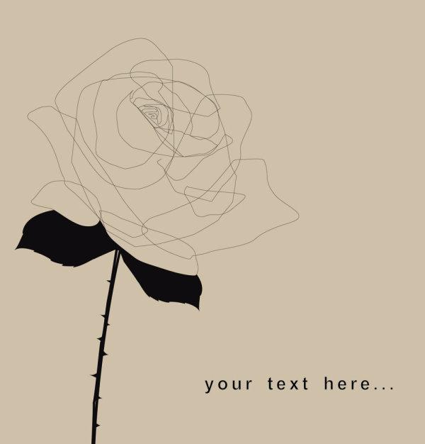 手绘,线稿,玫瑰花,黑白,剪影,矢量图,设计素材,eps格式