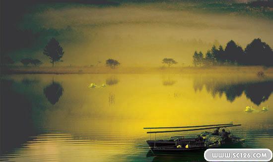 意境湖畔唯美风光psd素材,天鹅 孤舟 河畔 湖畔图片素材,免费湖畔psd
