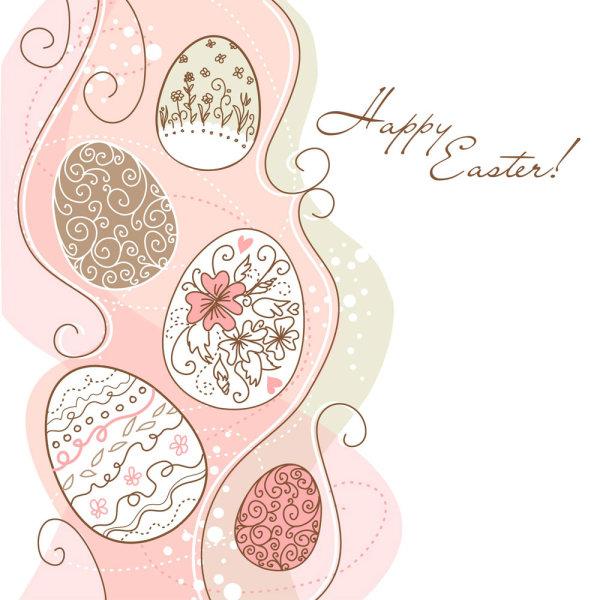 淡雅的花纹彩蛋矢量图2