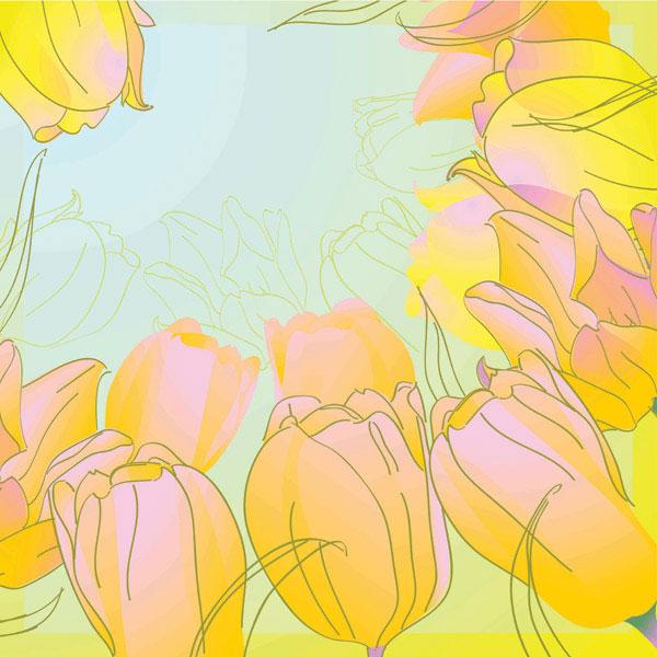 郁金香,手绘,线条,花朵,花卉,矢量图,设计素材,eps格式