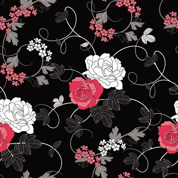黑色背景,花卉,图案,线稿,白描,花纹,矢量图,设计素材,eps格式