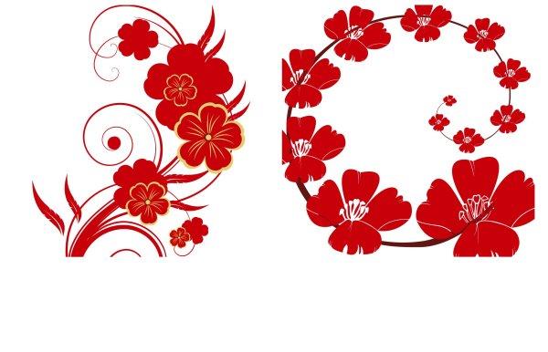 花纹,花,红色,喜庆,矢量图,设计素材,ai格式