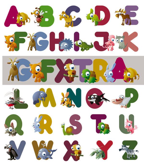 卡通动物英文字母矢量图