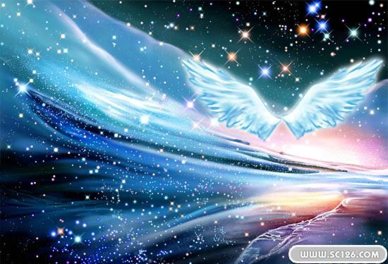 唯美璀璨星空婚纱psd素材免费下载,天使翅膀 梦幻星空图片素材,免费