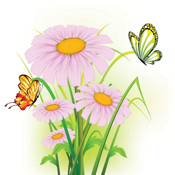 精美,鲜花,背景,花朵,树叶,蝴蝶,矢量图,设计素材,eps格式