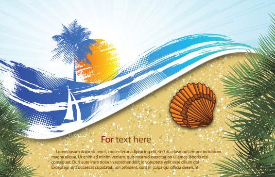 夏季海滩背景06矢量图-矢量植物与风景-矢量素材-素彩