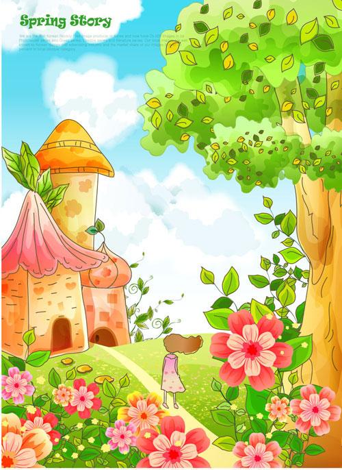 可爱,卡通,插画,城堡,小女孩,花蕊,树木,房屋,手绘,绘画,矢量图,设计