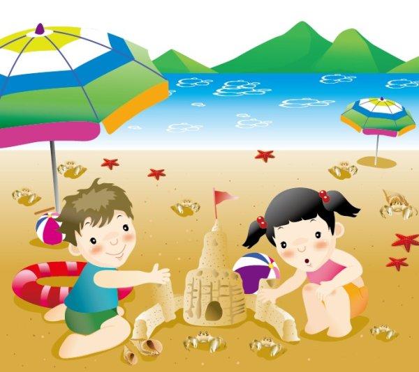 小孩,沙滩,海边,卡通,可爱,玩耍,伞,矢量图,设计素材,eps格式