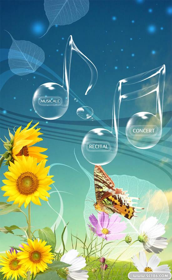 清新花草音乐海报psd素材免费下载, 光点 透明音乐符号 蝴蝶 向日葵图