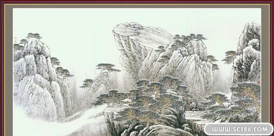 古朴山水中堂画psd素材-中国风传统素材-psd素材-素彩