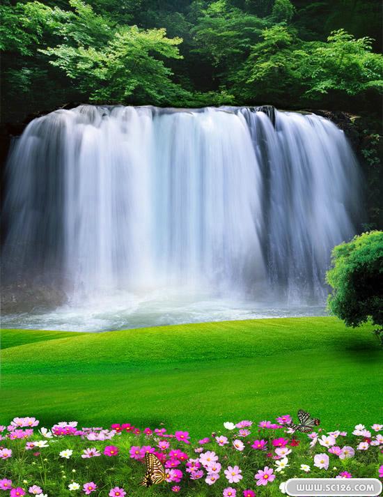 自然山水瀑布风景psd素材免费下载,山花 草坪 树林 瀑布图片素材,免费