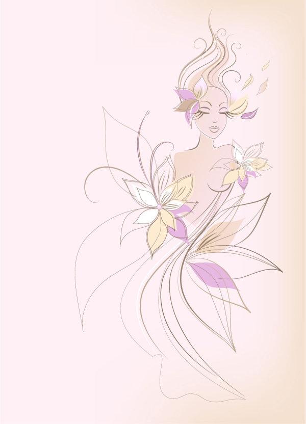 花朵,线条,时尚,女性,女人,矢量图,设计素材,eps格式