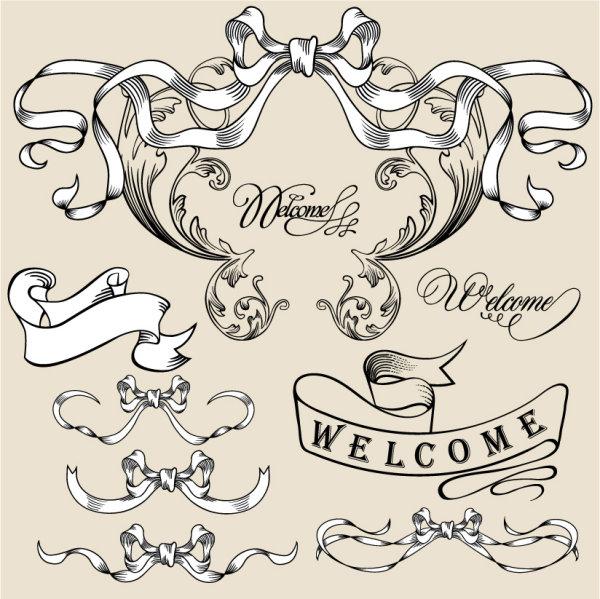 欧式,花纹,线稿,蝴蝶结,纹样,线条,矢量图,设计素材,eps格式