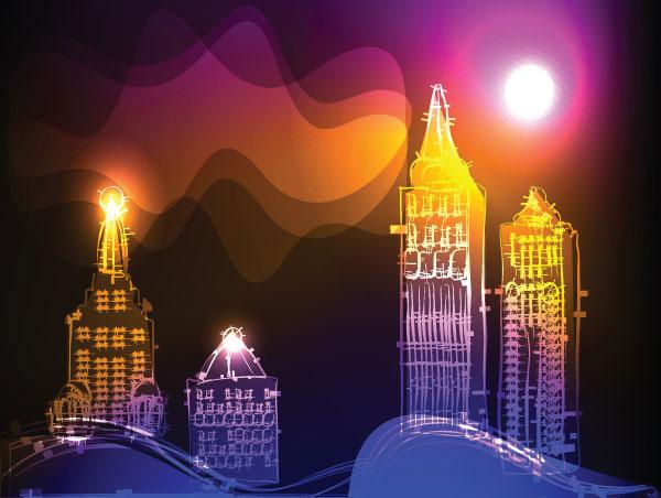 绚丽,霓虹灯,背景,线条,灯光,光晕,建筑,楼,矢量图,设计素材,eps格式