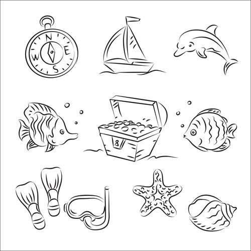 航海元素简笔画02矢量图-矢量图标素材-矢量素材-素彩