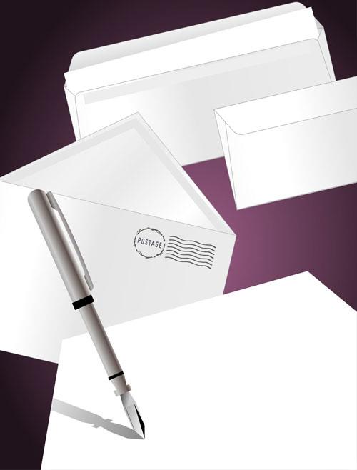 信封,邮件,印章,戳子,信件,卷纸,信纸,纸张,钢笔,矢量图,设计素材,eps