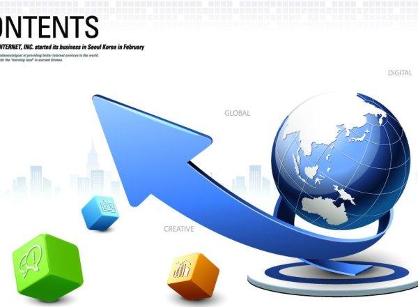 创意魔方箭头商务海报矢量图-2-矢量设计元素-矢量-素