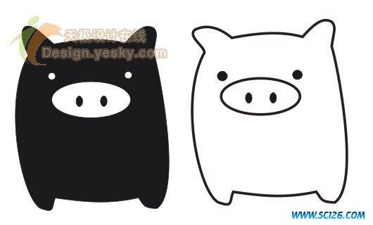 猪的线描画的绘画步骤
