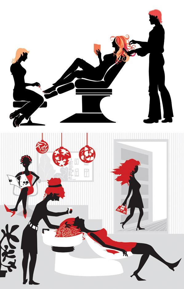 美发发廊元素插画矢量图-矢量人物与卡通-矢量素材-素