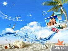 沙滩贝壳阳光海洋PPT模板