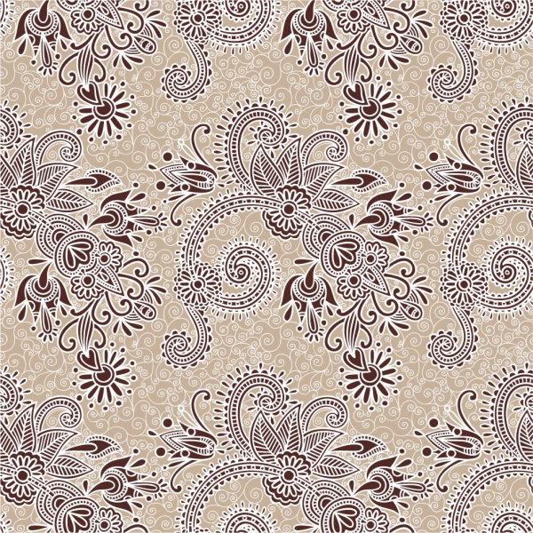 二方连续花纹矢量图2-矢量花卉花纹-矢量素材-素彩网