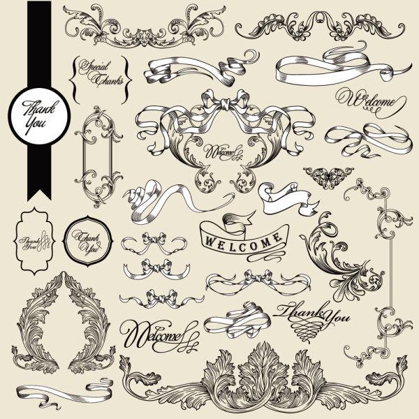 欧式,花纹,纹样,样式,丝带,边角,花边,边框,线条,手绘,矢量图,设计