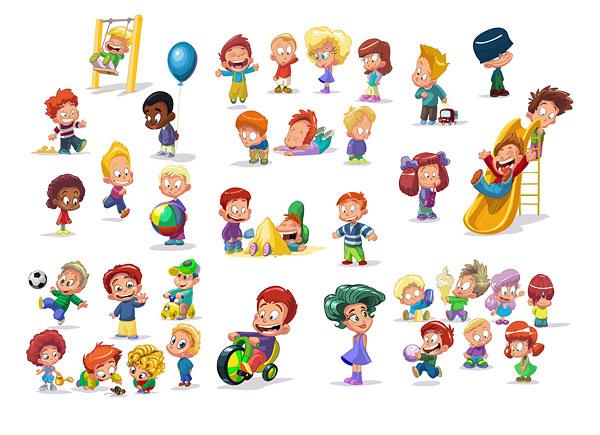 儿童,人物,荡秋千,货梯,足球,玩具车,玩耍,矢量图,设计素材,eps格式