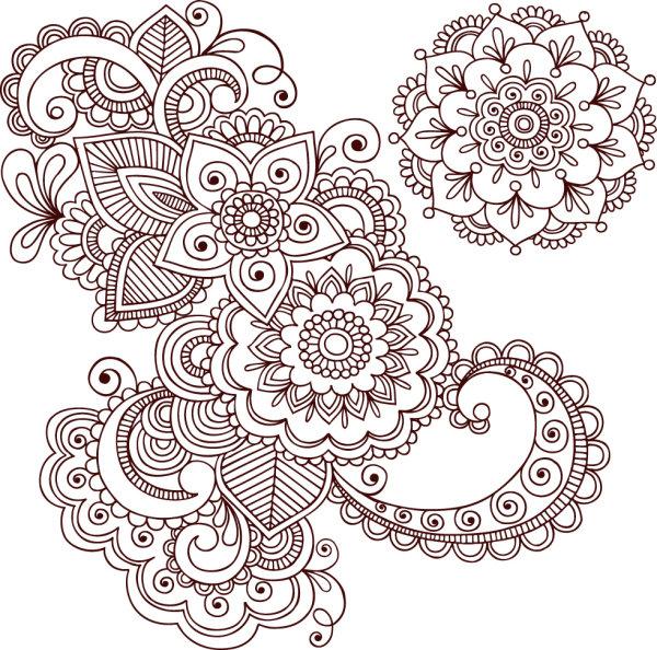 手工,绘制,线稿,线条,图案,花纹,纹样,矢量图,设计素材,eps格式