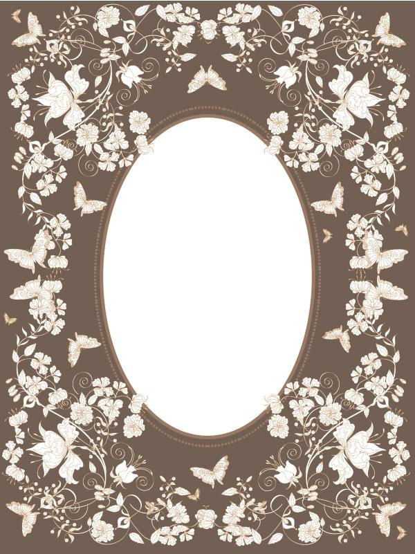 欧式,花纹,图案,蝴蝶,心型,心形,花,边框,花边,矢量图,设计素材,eps
