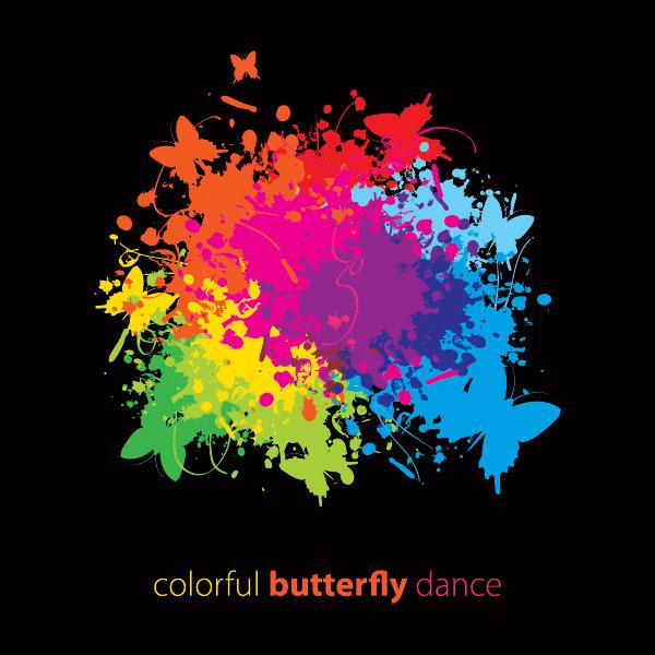 喷溅,彩色,图案,花纹,蝴蝶,潮流,矢量图,设计素材,eps格式