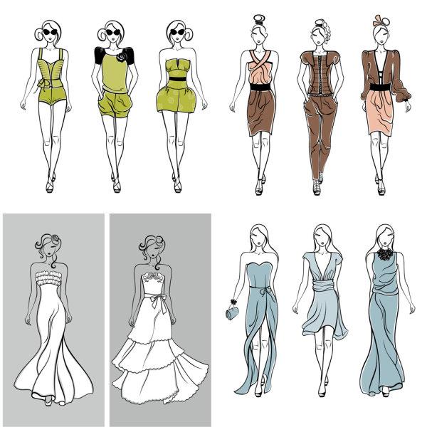 服装,衣服,展示,模特,婚纱,裙子,矢量图,设计素材,eps格式