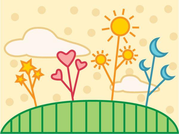 可爱,潮流,卡通,自然,太阳,月亮,,星星,白云,心,花草,插画,装饰画