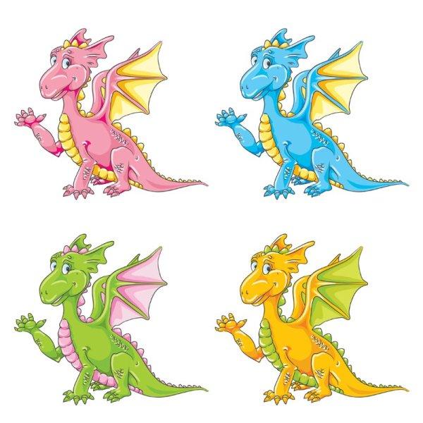 卡通可爱彩色小恐龙矢量图