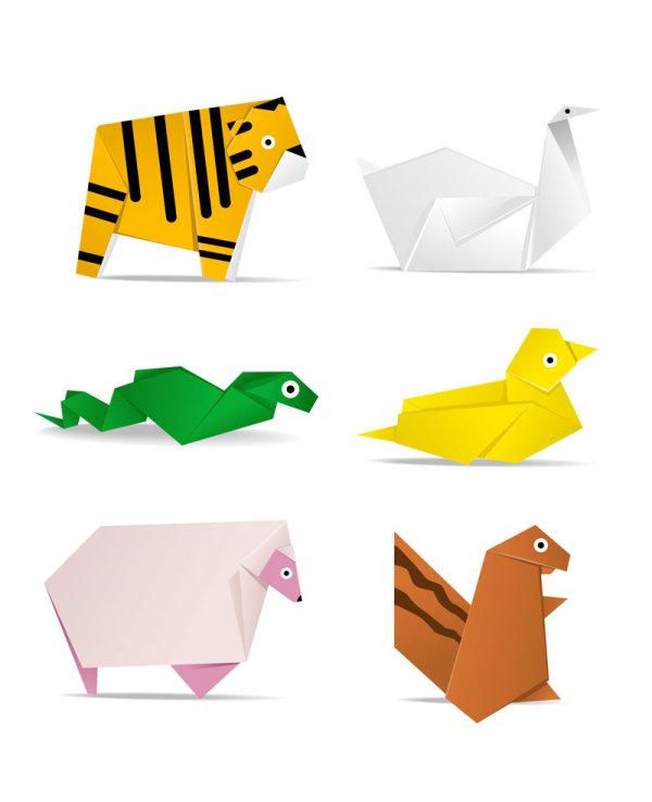 卡通可爱动物折纸矢量图