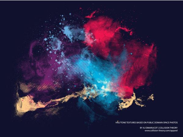 颜料画星空步骤绘画