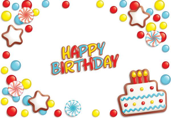 生日,生日快乐,卡通,糖果,星星,蛋糕,矢量图,设计素材,eps格式