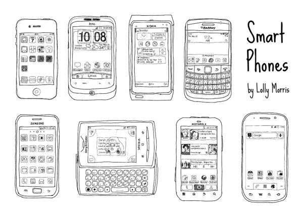 手机手绘稿矢量图